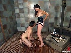 This bitchy babe Lena Ramon ties up Charlie and twitches his nipples. Then babe ties up his cock with a tiny and fucking painful rope!