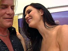 Dirty lad gets dominated by a busty dark haired honey Kendall Karson and licks her feet as she gets her hands on Evan Stone and his hard rod