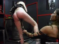 Cute blonde milf Kym Wilde is getting naughty with her lesbian friend Lana Lynx. She shows her sweet ass to Lana and lets her beat and pinch it.