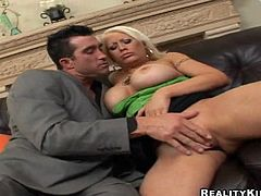Big-breasted blonde milf Candy Manson shows her vag to the man and lets him eat it. Then she favours him with a stunning blowjob and they bnag doggy style and in other positions.