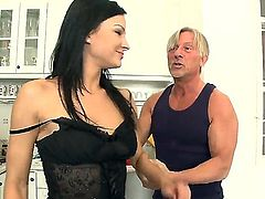 Abbie Cat gets banged by mature stud