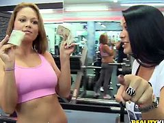 We go to a gym where there are some pretty hot and fit amateur babes working out and we offer them a different work out. One of them agrees it's much more fun!