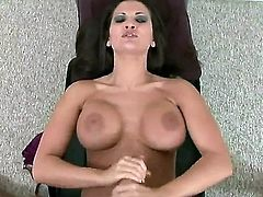 Bootylicious brunette bombshell Austin Kincaid with french manicure and big jaw dropping hooters teases her hubby and gives him amazing handjob in point of view until he cums on on her gazonas.