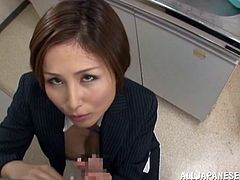 All that hard working at the office makes Satsuki anxious for a blowjob break. She finds one of her colleges in the kitchen and immediately kisses him, and massages his dick over the pants. The bitch drools for his hard dick, so in no time she gives the dude a mean blowjob. Should he repay her with a cum load?