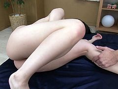 Divine pale skin Japanese fairy gets nailed in doggy style while her mouth is busy giving oral fuck to another sturdy penis before she rides a hard cock in reverse cowgirl style in MMF sex video by Jav HD.