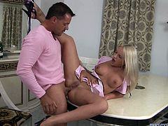 Alisa is well shaped Russian porn actress. She lies on a table keeping her legs close. The guy stretches her butt cheeks getting access to her ass. He eats her ass. When the anus muscles loosen a bit he enters the hole pushing big dick deep in her asshole. This dude gives no mercy to her butt hole banging brutally.