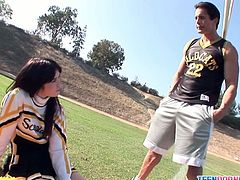 Brunette cheerleader ashlyn rae sucks a cock