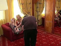 Sexy blonde babe stacy and playmate enjoy a steamy birthday makeout and hardcore lesbian fuck