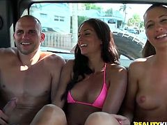 We go to the beach and see if we can pick up some chicks to fuck in the van. Two agreed to hop in, especially a blonde who was amazed by the stud's big dick.