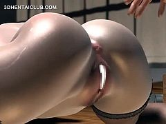 Busty cute hentai girl in glasses pussy nailed deep gets creampie