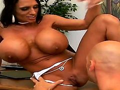 Mature Lisa Lipps with gigantic hooters and shaved snatch getting skull drilled by Johnny Sins