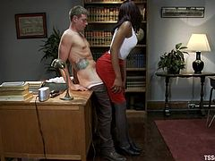 John Jammen is playing dirty games with hot shemale Star in an office. They pet each other passionately and then Star destroys John's amazing butt.