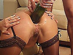 FRENCH AMATEUR WIFE HAS HER ASSHOLE HEAVILY FISTED AND FUCKED WITH A WINE BOTTLE TILL IT PERMANENTLY GAPES