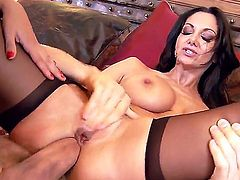 Smoking hot black haired milf Ava Addams with huge jaw dropping tits and her husband Erik Everhard with muscled body and bog cock have wild threesome with lusty Missy Martinez.