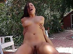 Turned on good looking young stud Karlo Karrera with long rock hard cock fucks hard pretty asian babe London Keyes with juicy curves and gets sucked good in backyard.
