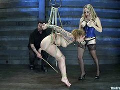 Aiden Starr and Jessie Cox in hot BDSM video. One of the girls gets tied up and toyed with a vibrator.
