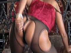 Indian Sex Lounge XXX clip will make you jizz at once. Wonderful busty brunette with long hair wears red corset and pantyhose. Gorgeous nympho goes solo tonight. She strips passionately, smacks her appetizing rounded ass and stretches legs wide to finger her wet cunt for orgasm.