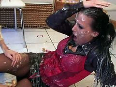 Two drunk mature bitches having a cake fight. Whores cover their faces with whipped cream and wrestle on the floor all covered in cake pieces.