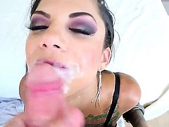Nasty whore Bonnie Rotten is giving deep throat fellatio to Jonni Darkko. The perverted dude gets as much pleasure as it is possible from fucking face of the girlie.