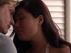 Evan Stone whips out his ram rod to fuck amazingly hot London Keyess throat
