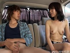 Horny MILF is in a van with a big dick guy where she is getting a job as a nurse but she has to repay him. She is feeling a bit shy but with talking she is coping up with them and then she undresses herself and shows her small boobs which has made this guy's dick hard. Now she is about to give a head.
