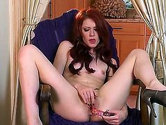 Petite pretty brunette Elle Alexandra with small boobies and long hair spreads legs and stuff her shaved minge with glass dildo to wet orgasm while teasing in point of view.