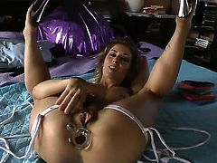 Pretty flexible brunette doll Sheena Shaw with heavy make up gets her delicious round ass stuffed with glass dildo by kinky John Stagliano in amazing position in point of view.