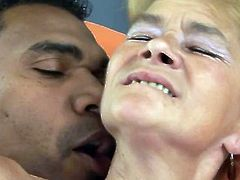 Blonde granny GILF interracial fuck and she loves it