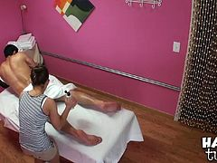 Well, this brunette is a great masseuse. Kinky chick with slender body rubs the ass, chest and neck of strong oil covered dude. Then she pulls up the blanket and rubs his stiff dick to make it jizz at once.