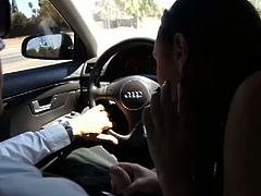 Sexy chocolate babe Bethany Benz gets horny in the car.She takes off driver's pants and gives him amazing blowjob.She licks and polishes his balls and head.