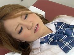 Alluring Japanese student lies on her back with legs spread aside wearing frisky college uniform getting her fresh pinkish cunt fingered hard until she squirts in pov sex clip by Jav HD.