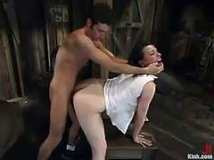 Brunette hottie Dana Dearmond is getting naughty with James Deen in a basement. James restrains Dana, tortures her and then fucks her juicy snatch from behind.