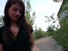 Innocent lloking teen Aimee blows a pole expertly before taking warm load outdoors