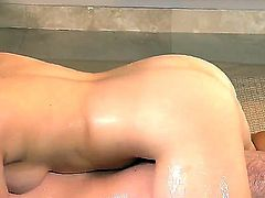 Pretty young brunette doll Angelina Mylee with natural perky boobs and heavy make up gives arousing massage to her naked client Brandon Nash and plays with his cock in jacuzzi.