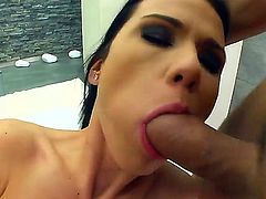 Denise Sky is a brunette who loves to give head like a real pro and rub her pussy while doing that