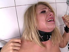 She is tied and helpless. Horny guy fucks her in the mouth and gapes her asshole with a black long dildo toy and then sticks it in her mouth.