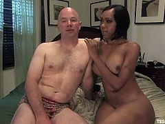 Sexy transsexual police officer undresses and fucks a guy in his mouth. After that he gets handcuffed and ass fucked.
