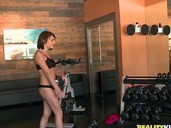 These sizzling hot lesbian girls with slim bodies are so flexible that it is scary. They are horny as hell and more than eager to show their well-shaped tits and asses to their kinky fitness instructor. And here's what happens next...