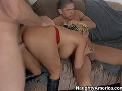 Busty and aroused blonde milf Holly Halston enjoys in getting her hands on two hard dicks in her hot threesome with Alex Gonz and Jordan Ash on the couch