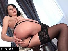 Brunette whore in pantyhose dildoes butthole hard