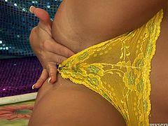 Jeanine is slim brunette porn model with pretty face. She wears tiny pink top and yellow knickers. She caresses her body tracing her hands all over. Jeanine strips slowly teasing you. Then she inserts long dildo in her pussy poking it intensively. I love the sound she produces. Check her out in a steamy My Sexy Kittens porn clip.