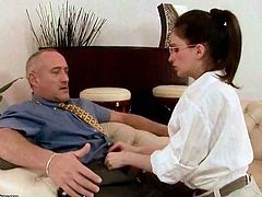Teen secretary seducing her old boss