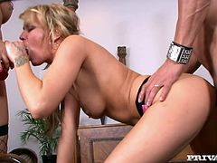 Two gorgeous and super hot babes Holly Wellin and Jordan Jagger are so damn naughty! Babes get naked and start doing some hardcore things on that thick cock!
