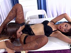Marica Hase is a lovely lesbian asian doll in black lingerie. She gets her feet licked by her friend with her nylons on. Watch charming honeys have foot fun for your viewing pleasure.