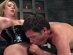 This guy likes to be fucked in his ass. So, he takes on red panties and a corset. He gives a blowjob to Gia and then gets fucked in the ass as he wanted.