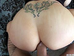 Candy Manson has massive tits and enjoys a good ass fuck. This guy drills deep in her nasty ass hole.