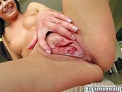 Into her tight pink pussy.