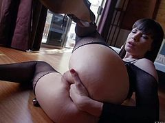 Dana Dearmond and London Keyes are sexy pornstars in black nylon stockings that finger fuck their anal holes for your viewing pleasure. They stick four fingers in their assholes with ease.