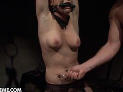 Busty blonde babe Chicky Clarissa is in hardcore bdsm dungeon, Chicky learns it in a painful way as her boobs, belly and cunt being punished brutally,he cruel Master loves to play rough games and the poor girl soon realizes how painful and humiliating it can be.Don't miss it!