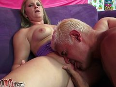 Get a load of this blonde babe's amazing body and especially her incredible ass in this hot video where she's eaten out and fingered before riding a big cock.